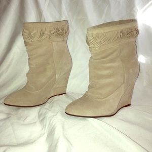 Light tan wedge boots